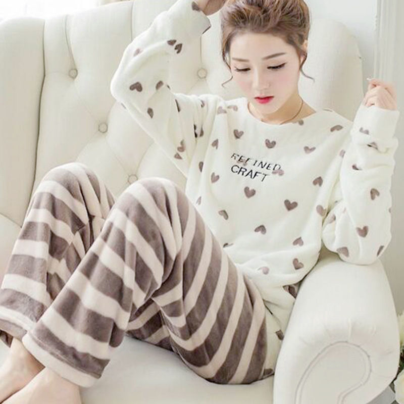 High Quality Women Pajama Sets Winter Soft Thicken Cute Cartoon Flannel Sleepwear 2 pcs/Set Tops + Warm Pants Home Clothes Mujer 89