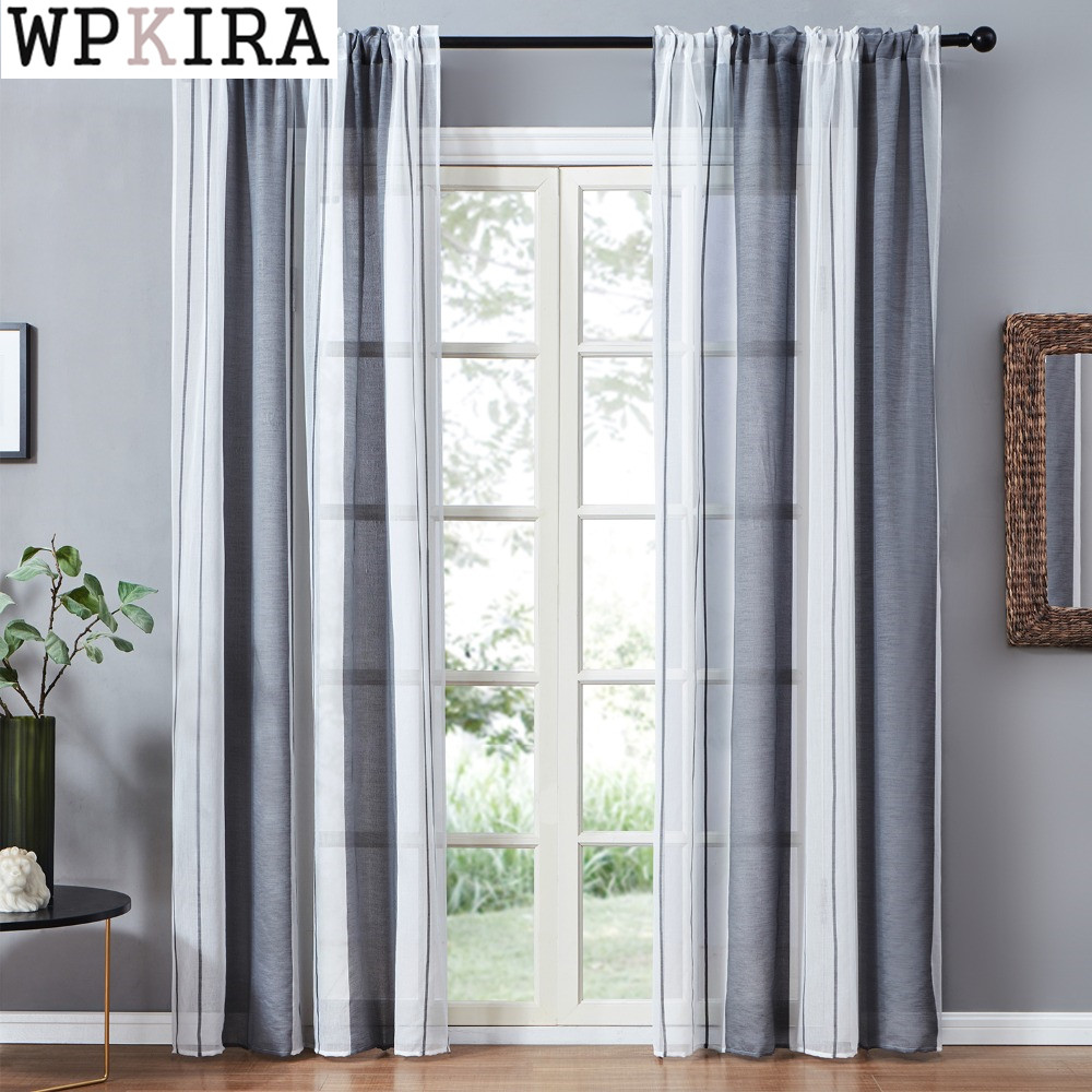 Gray Voile Sheer Curtains Drapes For Bedroom Kitchen