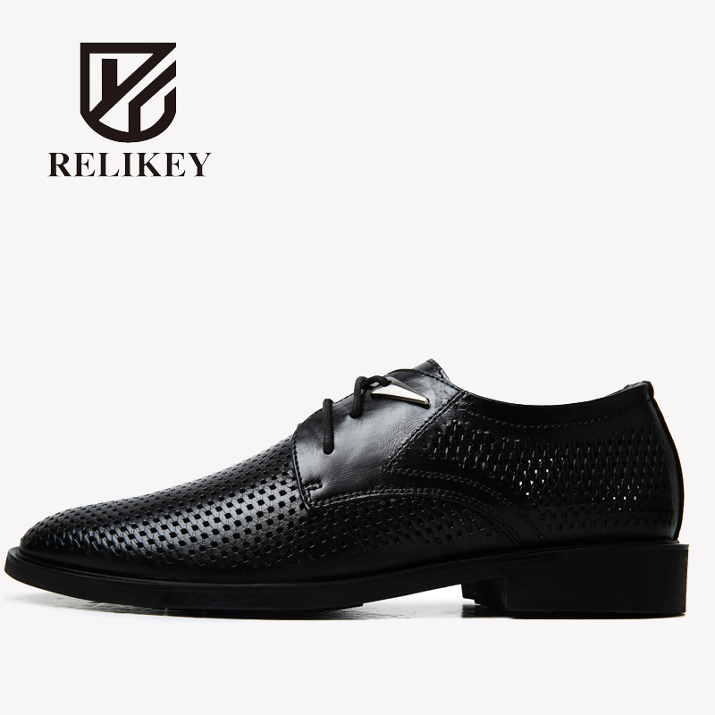 RELIKEY Brand Men Oxfords British Style Genuine Cow Leather Male Flats Wedding Shoes Lace-up Pointed toe Summer Men Dress Shoes british style men oxfords spring winter lace up flats pointed toe creepers casual men platform high dunk genuine leather shoes
