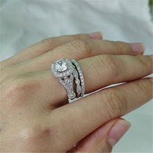 Hot Sale Romantic Full Cubic Zirconia Ring Wedding Jewelry for Women Silver Rings Accessories Gifts High Quality LJ&OMR