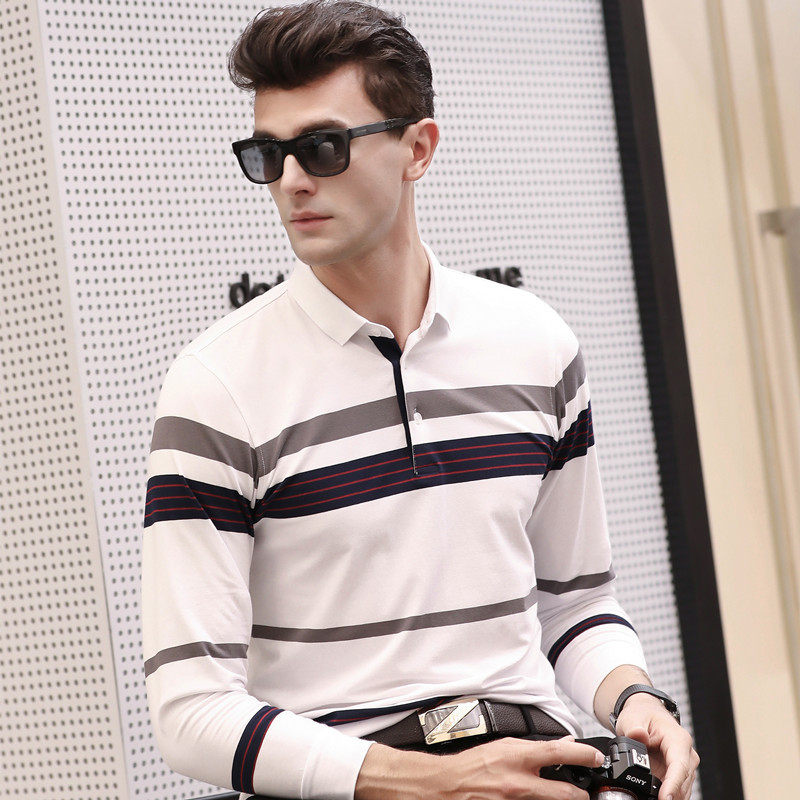 Spring autumn new arrival striped cotton long sleeve   polo   shirt men business casual breathable homme camisa plus size XXXL 6697