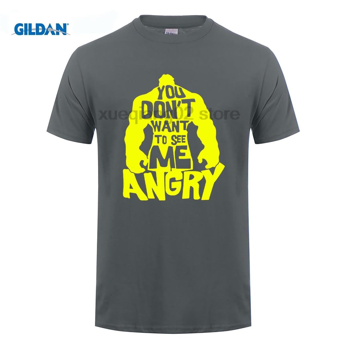 GILDAN Nieuwe Hulk T-shirts Mannen U niet wilt zie me angry T-shirt O hals Korte
