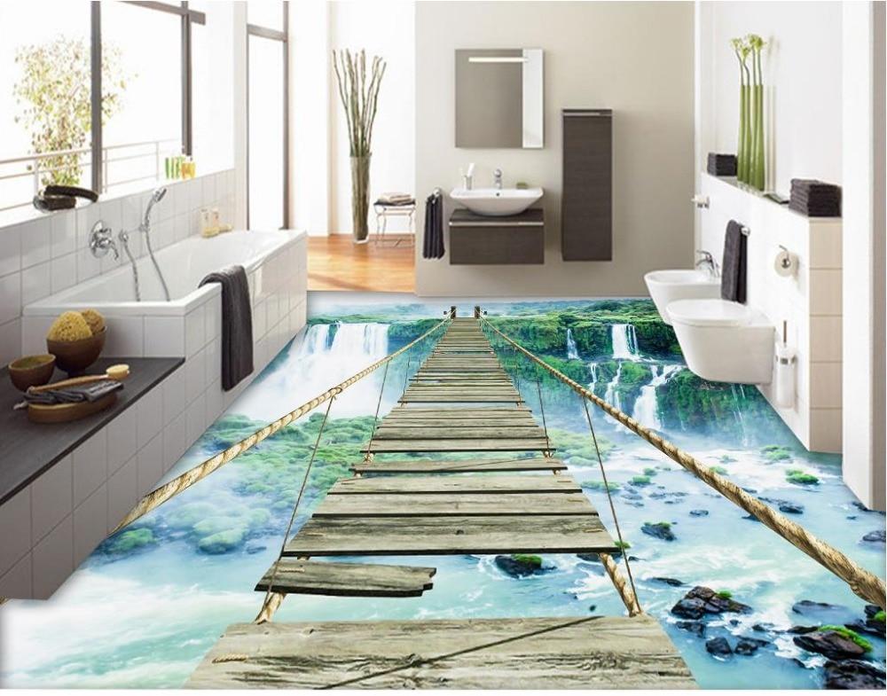 D vloer schilderen behang d landschap waterval adventure touw