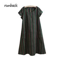 runback 2017 Summer Women Striped Linen Green Dress Large Size Short Sleeve Ankle Length Loose O-neck Vintage Vestidos De Festa