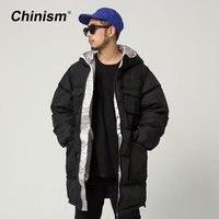 CHINISM חדש החורף שחור עבה עם ברדס ארוך ארוך מכתב פס אופנתי של גברים מעילים מעילי מעיילים עם ברדס Mens בגדי מותג