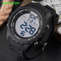 SANDA New Model Sport Watch Men Wristwatch Fashion Digital LED Military Watch Timing Popular Waterproof Outdoor