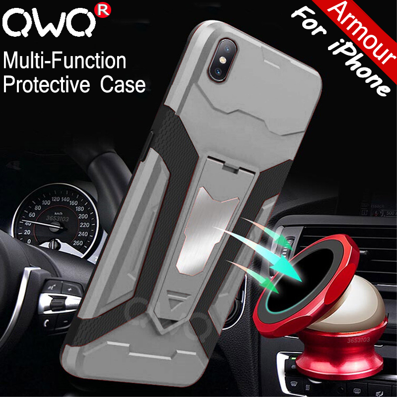 Multifunctional Armor Phone Case For Apple iPhone XS MAX XR X 7 Plus shockproof Protective Case For iPhone 6 6S 8 Plus Cover cap