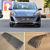Alloy Aluminium Front Center Racing Mesh Bumper Grills Billet Grille Cover For Mazda 3 2011 2013