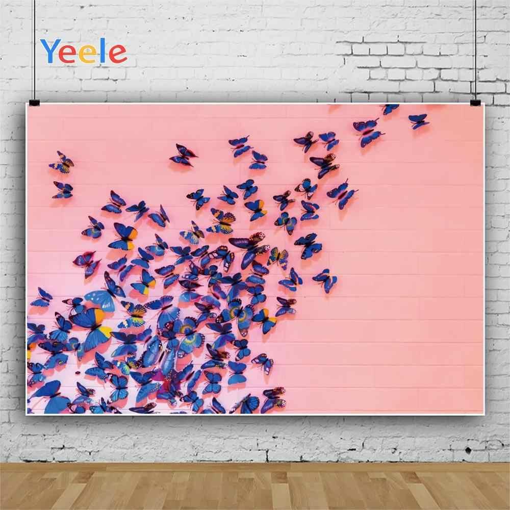 Yeele Photocall Rosa Muro di Mattoni, Farfalle Ins Fotografia Fondali Personalizzati Fotografiche Sfondi Per Foto In Studio