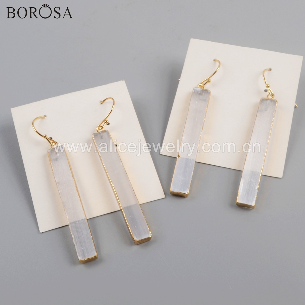 BOROSA 5/10Pairs Fashion High Quality Rectangle Shape Gild Transparent Selenite Stone Drop Earrings Jewelry for Women G1777