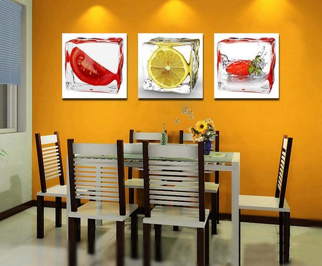 3 Panel Soyut Tuval PrintingsTomatoes Limon Tuval Sanat Duvar - Ev Dekoru - Fotoğraf 1