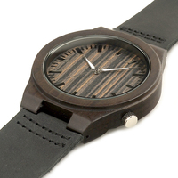 Top Brand Black Wood Watch For Men And Women With Genunie Leather Straps Luxury Gift With