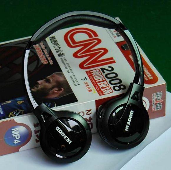 Envío libre Stereo Headset Auriculares Inalámbricos Infrarrojos IR en el techo Del Coche dvd o Reproductor de dvd reposacabezas de dos canales