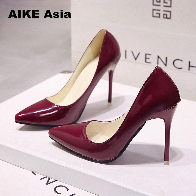 29 Colors Hot Women Shoes Pointed Toe Pumps Patent Leather Dresshigh Heels Boat Wedding Zapatos Mujer Red wedding 2018