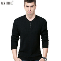 JACK CORDEE Casual Solid Sweater Men V Neck Twill Knitted Long Sleeve Shirt Slim Cotton Warm
