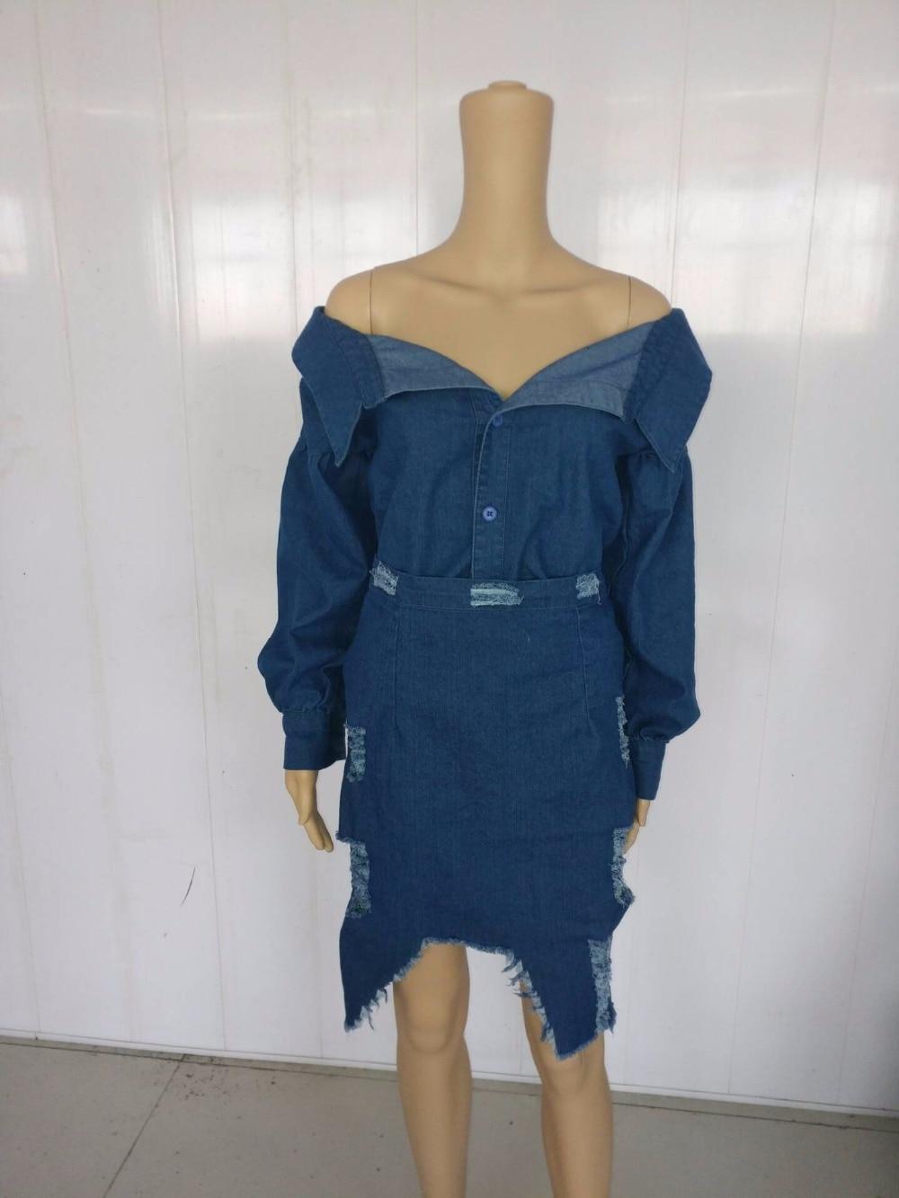 56e3f4271f Φορέματα European Foreign Trade Women Dress Sheath Party Cub Dress Off  Shoulder Denim Bodycon Jeans Dresses SY1128