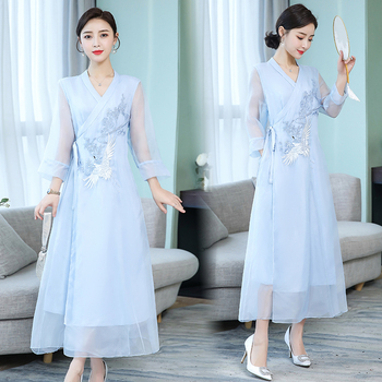 Asia & Pacific Islands Garment embroidered modern Women kaftans Gown New Style Robe Dress Novelty Performance Clothing 1