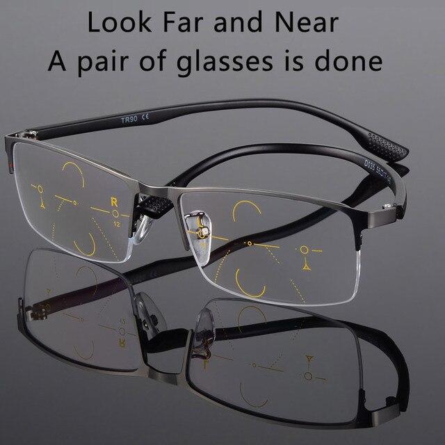 2017New Men Titanium Alloy Quality Progressive lenses Reading Glasses Fashion Square Half Rim Classic Multifocal Glasses for Men