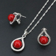 Bohemia Style Silver Color Chain Jewelry Set Red Artificial Coral Beads Pendant Choker Necklace Earrings Gift Sets 18inch B3411(China)