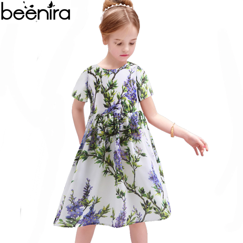Hot Summer Girls Princess Dress Kids Lavender Print Cotton for Baby Children Short Sleeve Vertical Fold Clothing for Party 2017 new girls clothing baby girls dress long sleeve cotton princess caual dress kids outwear clothes children brand print star dress