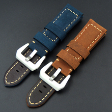 22mm 24mm Genuine Leather Men Handmade Handmade Buckle Watch Band Retro Watch Straps for Panerai 111 PAM For Omega Man Watch все цены