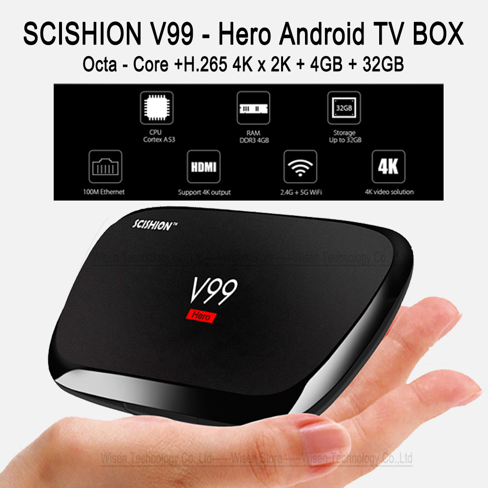 SCISHION V99 Hero Android TV Box 4GB RAM 32GB ROM Rk3368 Octa-Core Android 5.1 WiFi Bluetooth 4.0 1000M LAN UHD 4K Set-top Box