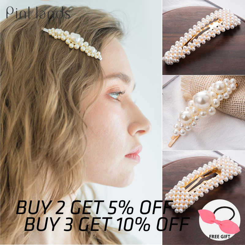 New Girls Pearl Hair Clip Metal Crystal Hairclip Barrette Headwear Bobby Hair Pin Wedding Hair Styling Tool Hair Clips for Women