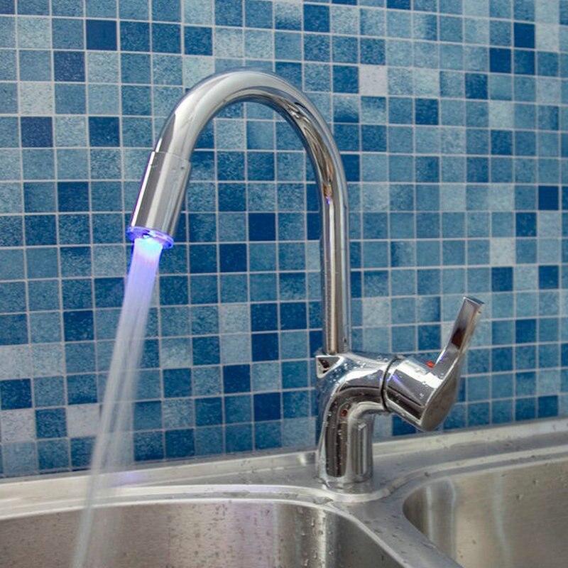 LED Light Brass Chrome Bathroom Sink Faucet Single Handle Swivel Spout Kitchen Mixer Tap 8479 1