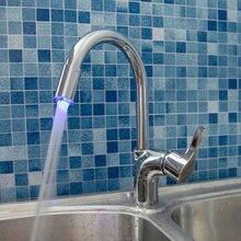 Светодиодные Латунь Chrome для ванной раковина кран Одной ручкой поворотным Носик Кухня смеситель 8479-1