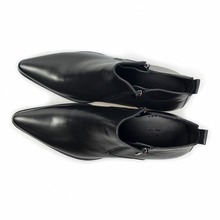 Genuine leather black Pointed Toe classic  ankle boots