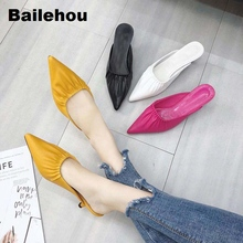 Bailehou Women Slippers Thin Heel Slides Summer Sandal Slip On Mule Shoes Brand Design Slipper