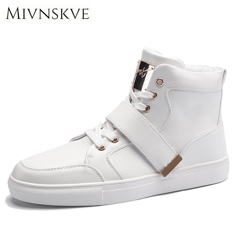 MIVNSKVE Men Shoes Fashion Warm Fur Winter Men Boots Autumn Leather Footwear For Man New High Top Leather Casual Shoes Men Flats yin qi shi man winter outdoor shoes hiking camping trip high top hiking boots cow leather durable female plush warm outdoor boot