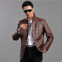 Free shipping !!! New 2014 Spring Mens brand Slim Genuine Leather clothing Quilted Casual Sheep skin jackets / M-4XL