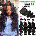 3or 4 bundles With Closure Queen Hair Products Brazilian Body Wave with closure 8A Brazilian Virgin Hair Human Hair With Closure