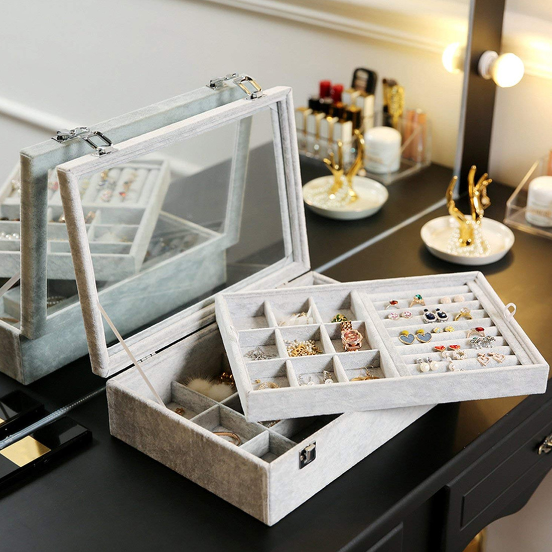New Drawer DIY Jewelry Storage Tray Ring Bracelet Gift Box Organizer Earring Holder Small Size Fit Jewelry Case Box