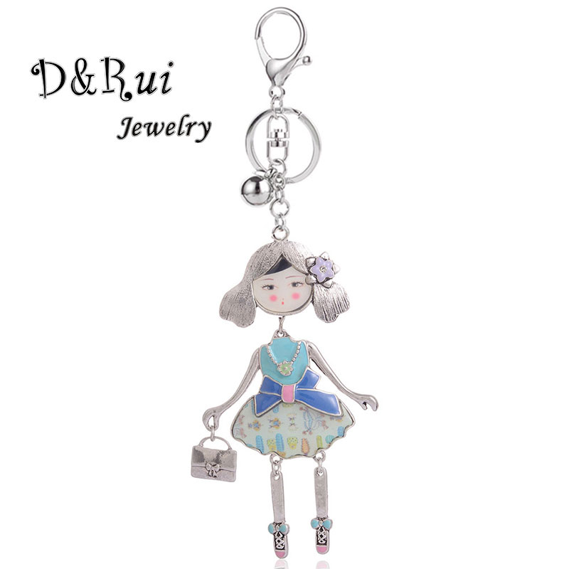 Fashion Doll with Bag Keychains for Girls Women 39 s Hangbags Car Alloy Metal Silver Key Chain Charms Ladies Key Ring Accessories in Key Chains from Jewelry amp Accessories