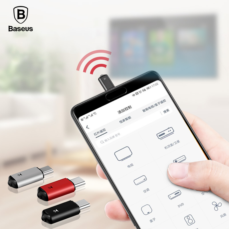 Baseus Mini Keychain Remote Control For Samsung Huawei Type-C USB C Interface Smart IR Controller Adapter For TV aircondition baseus ir remote control for iphone x 8 7 samsung s9 s8 type c jack universal smart tv controller adapter not support ios 12