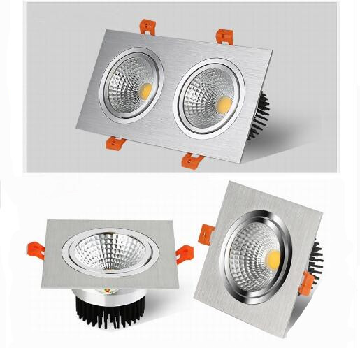 Silver Dimmable Led Downlight Lamp 7W 9w 12w 18w 24w Cob Led Spot AC110V-220V Ceiling Recessed Downlights Square Led Panel Light