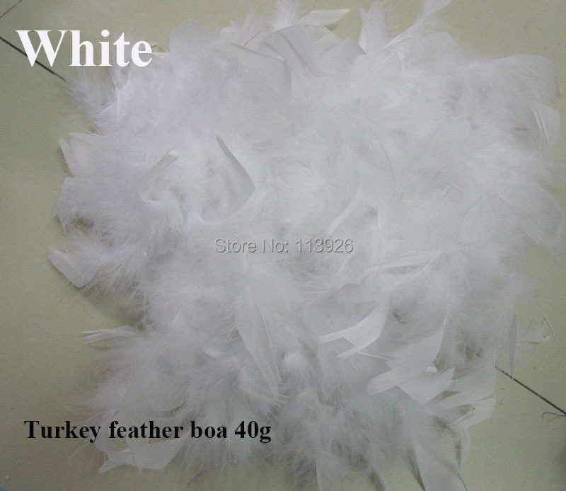 100pcs/lot 40g white Turkey Feather Boa 200cm(79) long Turkey Feather Strip for christmas dress