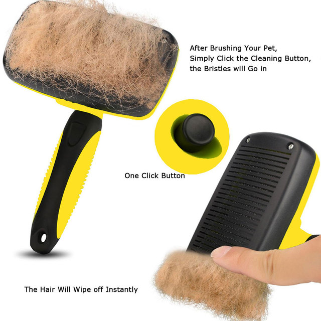 Nicrew Grooming Brush Pet Deshedding Tool Dogs Pets Slicker Brush Cat Comb Brush Glove for Removing Hair From Domestic Animals