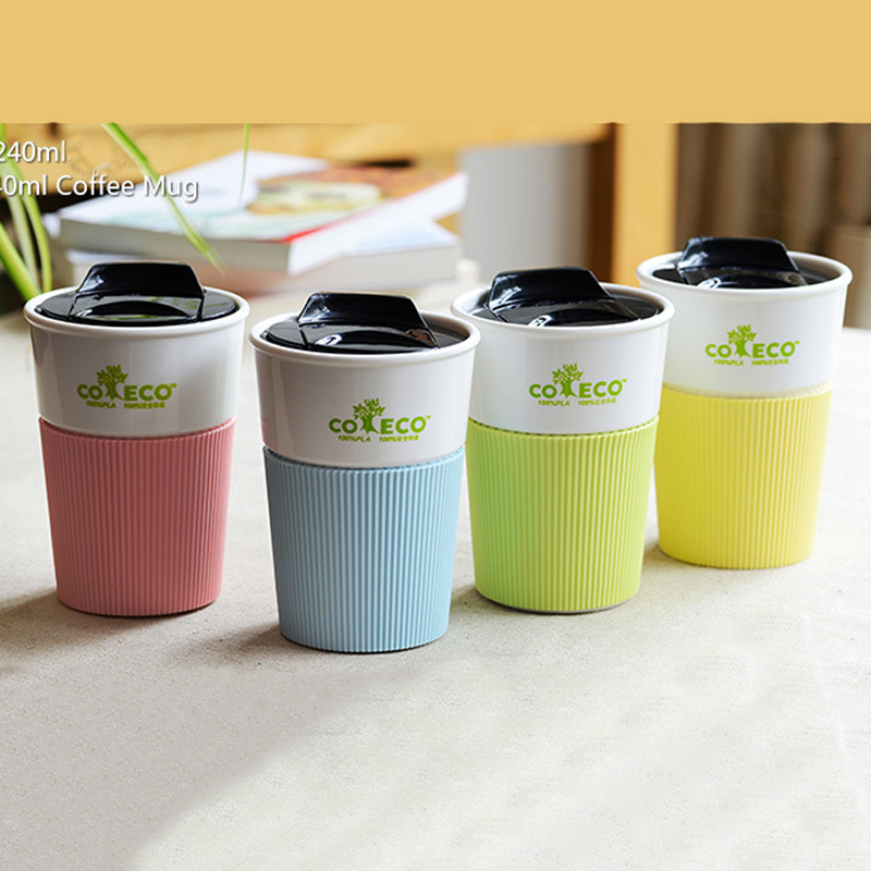 4 color reusable travel cup to go coffee cup pla mug with lid and silicone sleeve for tea and. Black Bedroom Furniture Sets. Home Design Ideas