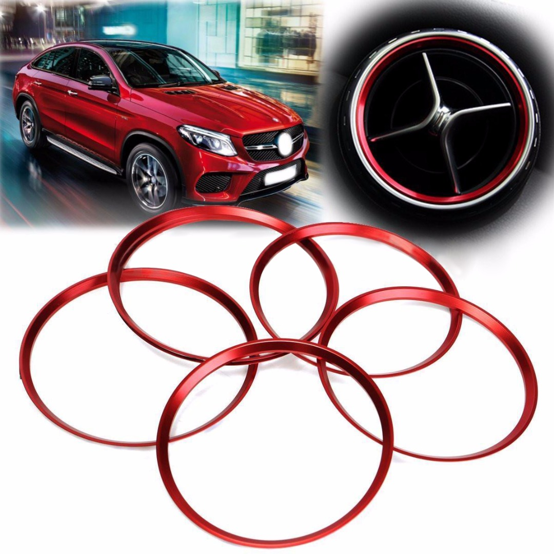 5PCS Red Car Air Vent Outlet Ring Cover Trim Decoration For Mercedes Benz A/B/CLA/GLA Class 180 200 220 Car Styling Accessories decoration trim car door window lift cover armrest button decoration for mercedes benz gla glk cls ml300 320 350 450 500 gl350