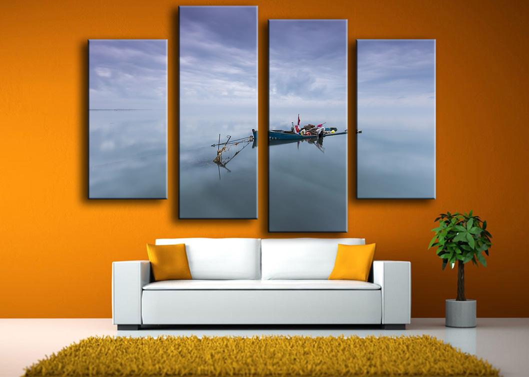 unid lagos con barcos salones conjunto impresin de la pintura de pared en lona para