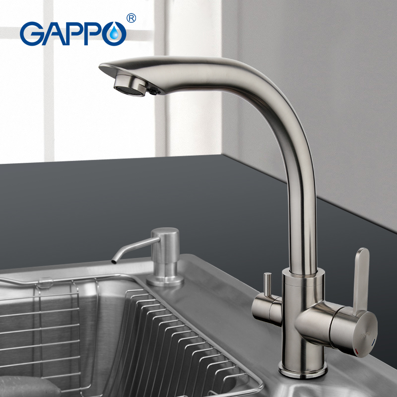 GAPPO Water Filter Taps Kitchen Sink Faucet Stainless Steel Crane Double Handles Tap Cold Hot Water Faucet Mixer Silver Colour