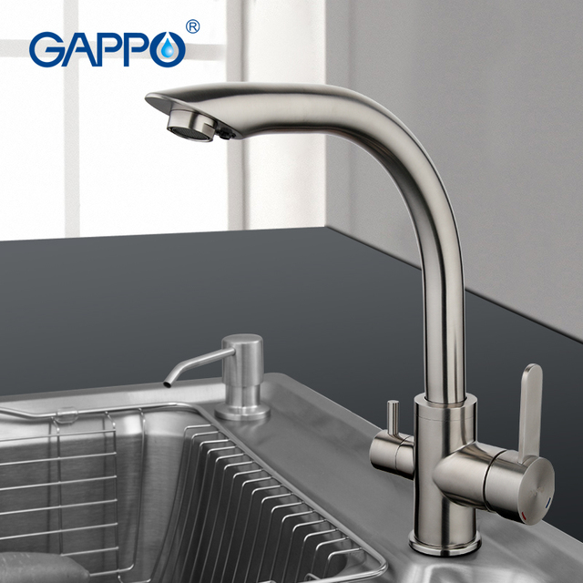 Go Water Filter Taps Kitchen Sink Faucet Stainless Steel Crane Double Handles Tap Cold Hot Mixer Silver Colour