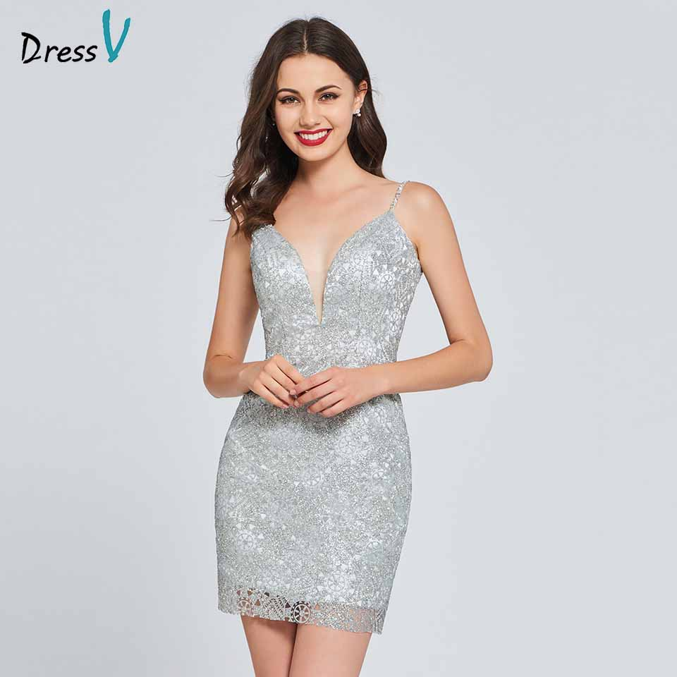 Dressv   cocktail     dress   elegant spaghetti straps sheath sequins backless sleeveless wedding party formal   dress     cocktail     dresses