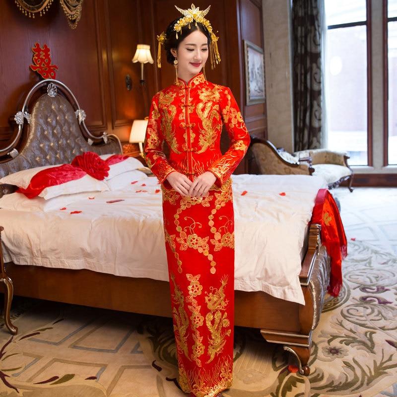 Φόρεμα φόρεμα Φοίνιξ κόκκινο νύφη Qipao - Εθνικά ρούχα - Φωτογραφία 4