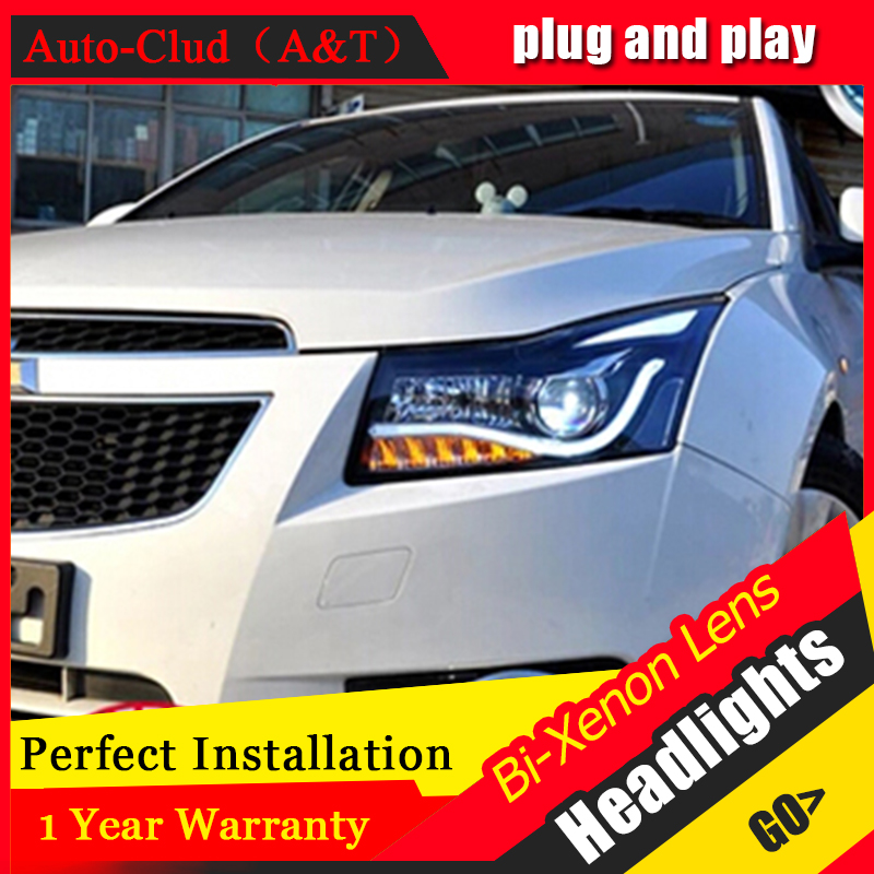 Auto Clud 2009-2014 For Chevrolet cruze xenon headlight assembly led angel eyes head lamps xenon lens car styling 2pcs purple blue red green led demon eyes for bixenon projector lens hella5 q5 2 5inch and 3 0inch headlight angel devil demon