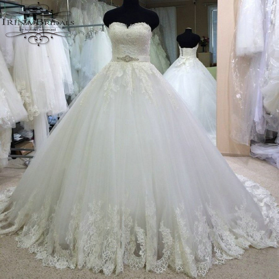 brautkleid Sweetheart Off Shoulder Lace Applique Rhinestone Ribbon ...