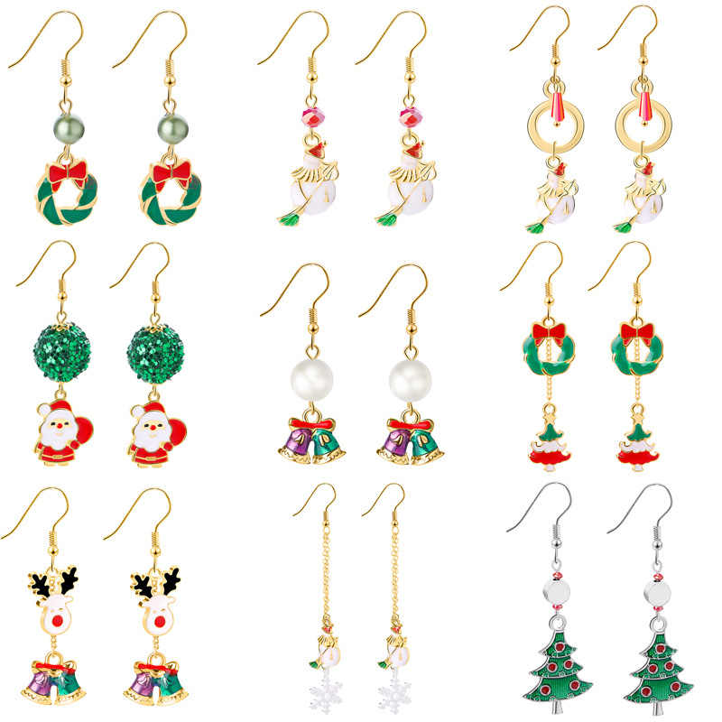 Women Santa Claus Christmas Earrings Snowman Deer Bell Christmas Tree Ear Jewelry Accessories Lovely Xmas Gifts